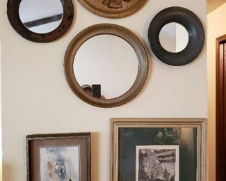 Mirrors, with frames in clay