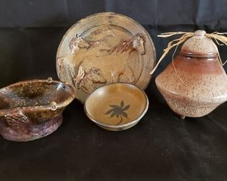 Pottery plates, bowls and vases