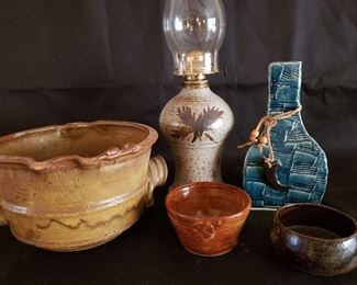 Oil lamps vases and bowls