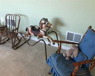 Rocking horse and chairs