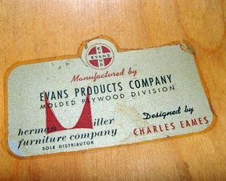 Vintage, Original, Herman Miller, Charles Eames, Molded Plywood, Dining Chair, Metal Bases, Label