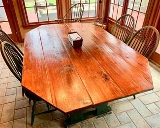 "18. Rustic Plank Top Dining Table w/ Painted Base (74"" x 48"" x 30"") and 6 Windsor Chairs 4 Side and 2 Arm"