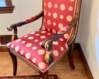 "23. Pair of Carved Gilt Arm Chairs (24"" x 24"" x 44"")"