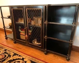 "32. Black Painted Sideboard w/ Wire Front and Gold Accents (68"" x 14"" x 36"")"