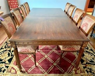 "37. Carved Dining Table w/ Gilt Rubbing (47"" x 8' x 30"") and Leaves (as is)"