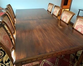 "37. Carved Dining Table w/ Gilt Rubbing (47"" x 8' x 30"") and Leaves"