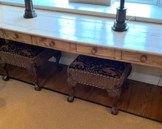 """39. Pine Plank Top Table w/ 5 Drawers  (96"""" x 27"""" x 30"""")"""