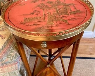 "45. Theodore Alexander Chinoiserie Side Table w/ Brass Gallery (18"" x 33"")"