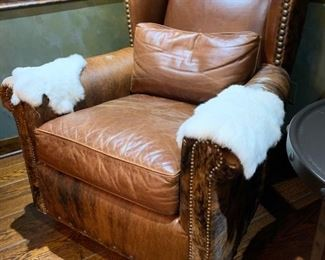"109. Pair of Cowhide and Leather Wingback Club Chair w/ Nailhead Detail (38"" x 41"" x 36"")"
