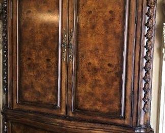 Stunning Armoire Burl Wood Finish