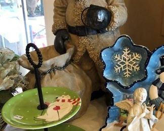 Snowman Platters, Cake Plate, Santa w Toy Bag