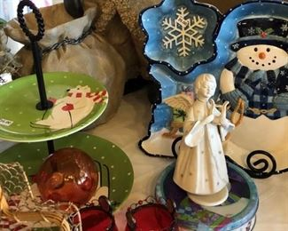 Blue and White Snowman Serving Pieces, Angel