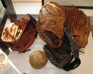 Vintage baseball mitts