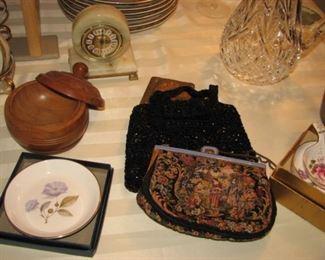 Petit point purse, treenware jar,