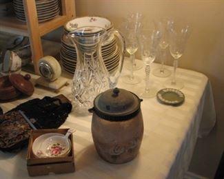 Depression glass stemware, green jasperware, Victorian biscuit jar, Waterford