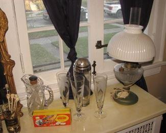 Barware, retro-fitted kerosene lamp