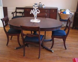 Dining table, dining chairs, sideboard buffet