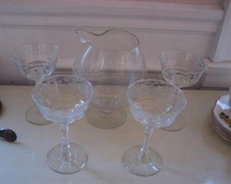 Depression glass stemware