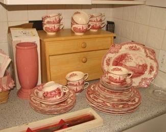 Fiesta Millenium vase, Johnson Bros. Old Britain Castles rose transferware