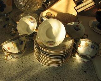 Haviland Limoges Ganga pattern cups & saucers