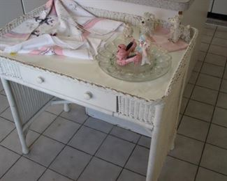 Wicker vanity table, vintage spaghetti poodles