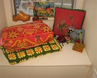 Vintage afghan, needlepoint pillows
