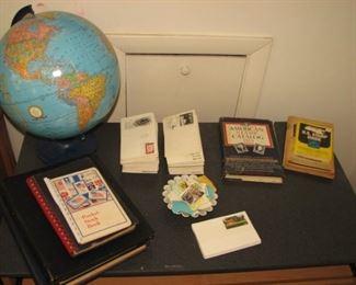 Globe, stamps