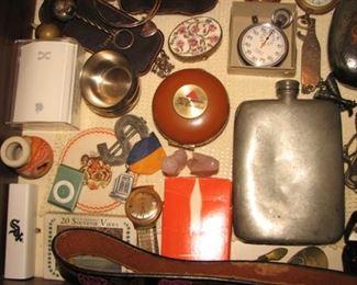 Vintage flask, stopwatch, money clip