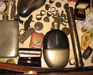 Vintage flask, Vintage rings