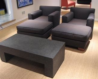 Donghia club chair with ottoman, granite table