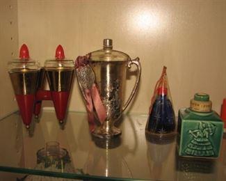 """Vintage perfume bottles, Karoff """"Morning Noon Nite"""", Artfield Creations """"The Winnah Perfume"""",  """"Night in Shanghai"""", United Toilet Goods Corp. """"18th Century Toilet Water"""""""