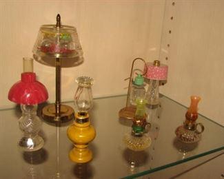 "Vintage Miniature Lamp Perfume Bottles, Le Sager ""Honeysuckle"", ""Modern-Lite Perfume"""