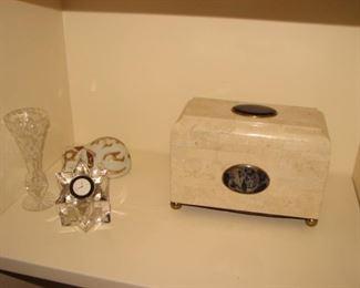 Orrefors clock, Ceska crystal vase