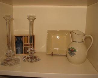 Val St. Lambert crystal candleholders, Lenox Autumn pattern pitcher