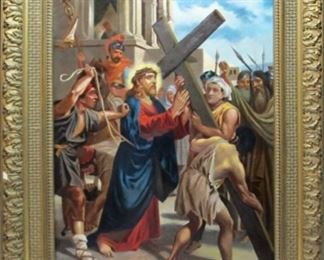 """AMAZING CHRISTMAS GIFT OPPORTUNITY! A Remarkable 18th / Early 19th Century Continental Figural Oil Painting Entitled CHRIST CARRYING THE CROSS 