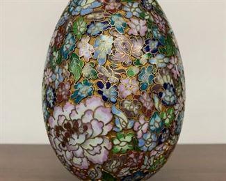 Large Vintage or earlier Chinese Cloisonne Enamel Egg Ornament on Stand