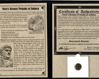 GREAT CHRISTMAS GIFT! Bronze Roman Prutah of Roman Procurator of Judea Porcius Festus, minted in the name Roman Emperor Nero, in circulation 58-62 AD,  a period which is the subject of the Book of Acts (of the Apostles), and during which (when Felix was replaced by Porcius Festus, in 60 CE, that Paul is put on trial.