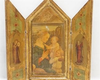 Gorgeous Antique Italian Florentine 24k Gold Gilt Triptych Icon Madonna & Child, with Angels on side panels, Estate of Dr. Fraser Wilson Charleston SC - PERFECT CHRISTMAS GIFT!