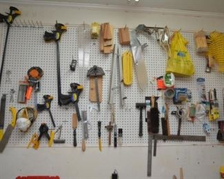 clamps, saws, hammers, miscellaenous tools