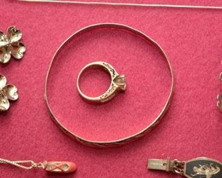 sterling necklace with ballerina slipper, sterling dogwood pins, sterling bangles, and sterling rings