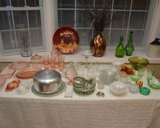 green, clear, and pink glassware - cake plates, pitcher and glasses, bowls, plates, candy dishes