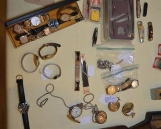 watches, pocket watches, Case knives, knives
