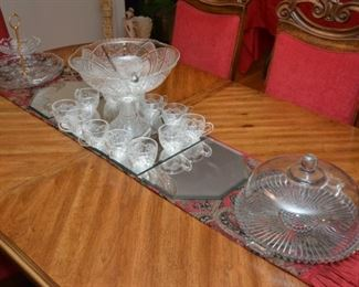 tiered serving plate, punch bowl/pedestal/cups/ladle set, glass cake plate and dome