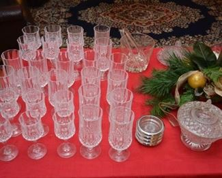 glass stems, coasters, candy dish, ice bucket