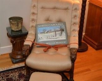 RJ Horner carved arm chair, floor lamp, faux painted pedastal, North Carolina coffee table book
