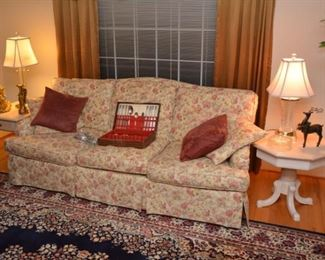 sofa, end tables, lamps
