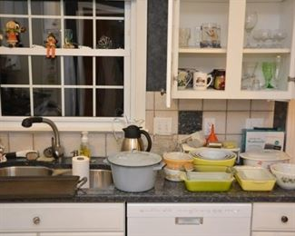 Pyrex, glassware, coffee mugs, enamel pot