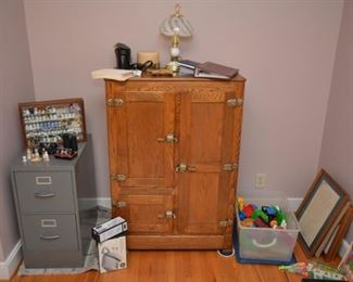 vintage oak ice box, file cabinet, thimble collection, pictures, toys, photo albums, binoculars