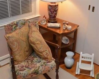 rocking chair, table