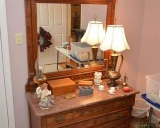 Eastlake chest with mirror, lamp, Christmas albums